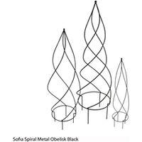 Sofia Spiral Metal Obelisk (Black) - 1 large obelisk (black)