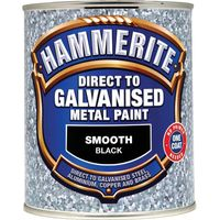 Hammerite Direct to Galvanised Metal Paint Black 750ml