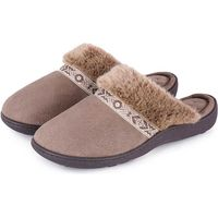 Isotoner Ladies Pillowstep Mule Slippers with Fur Cuff Taupe UK Size 5