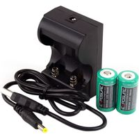 Exposure USB Charger with 2xRCR123 Batteries Light Spares