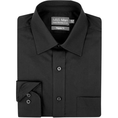 2in Longer Easy to Iron Shirt with Pocket black