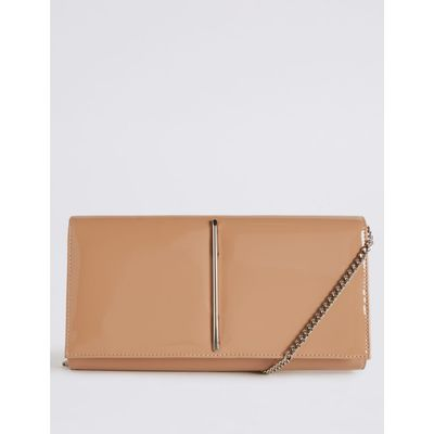 Metal Bar Clutch Bag nude