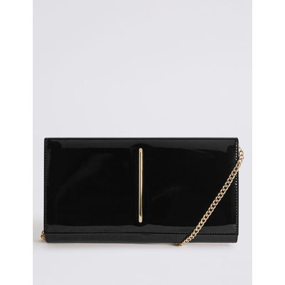 Metal Bar Clutch Bag black