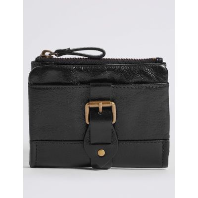 Leather Buckle Purse with Cardsafe™ black