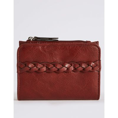 Faux Leather Plait Purse with Cardsafe™ burgundy
