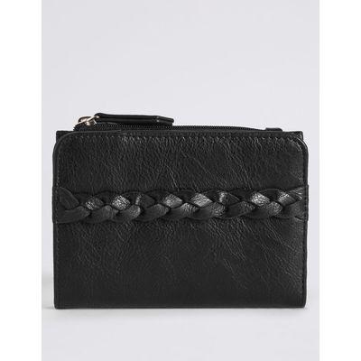 Faux Leather Plait Purse with Cardsafe™ black