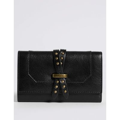 Leather Pin Detailed Purse with Cardsafe™ black