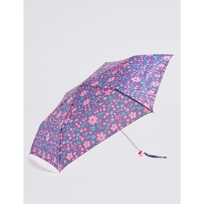 Folk Flowered Compact Umbrella with Stormwear™ purple mix