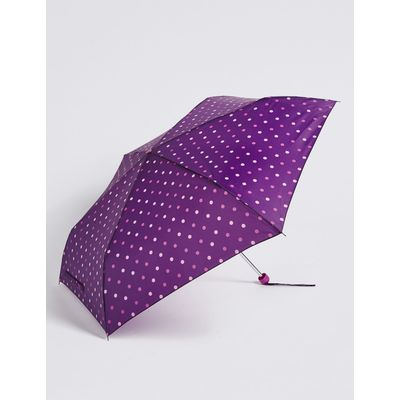 Polka Dot Compact Umbrella with Stormwear™ burgundy mix