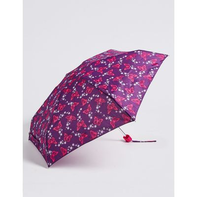 Butterfly Print Compact Umbrella with Stormwear™  purple mix