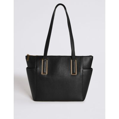 Metal Tab Shopper Bag black