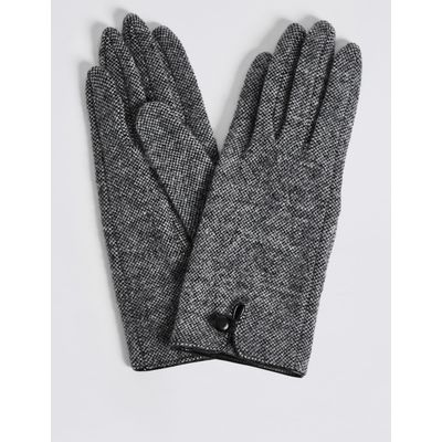 Wool Rich Button Loop Gloves grey mix