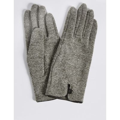 Wool Rich Button Loop Gloves natural mix