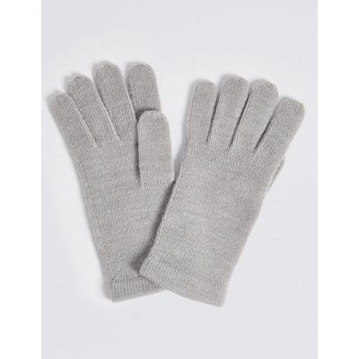 Soft Knitted Touchscreen Gloves grey mix