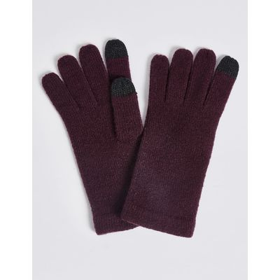 Knitted Touchscreen Gloves dark grape