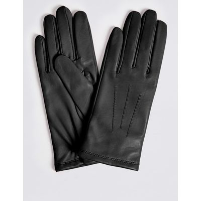 Leather Stitch Detail Gloves black