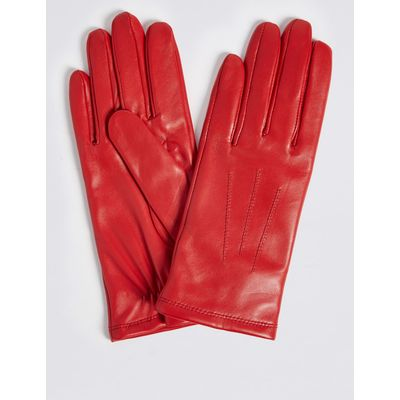Leather Stitch Detail Gloves red