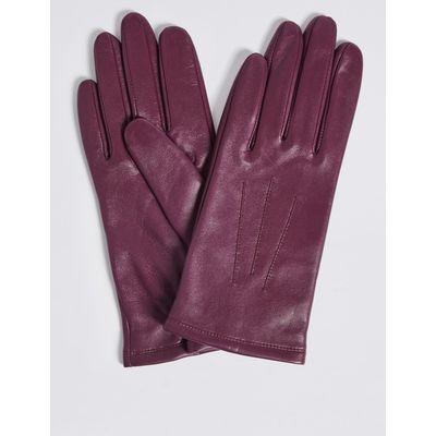Leather Stitch Detail Gloves magenta