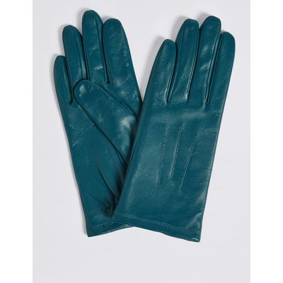 Leather Stitch Detail Gloves teal