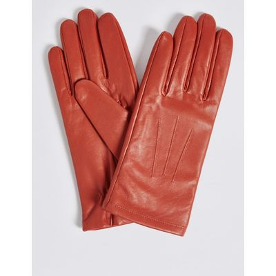 Leather Stitch Detail Gloves orange