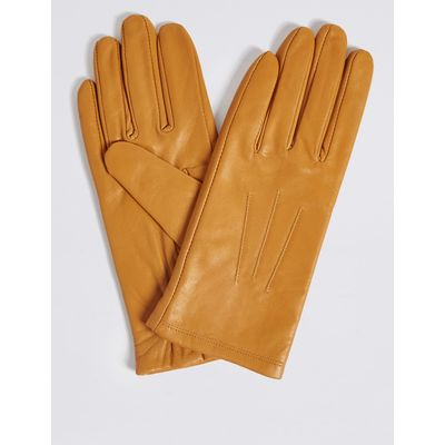 Leather Stitch Detail Gloves ochre