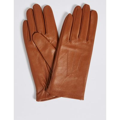 Leather Stitch Detail Gloves tan