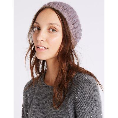 Textured Beanie Winter Hat pink