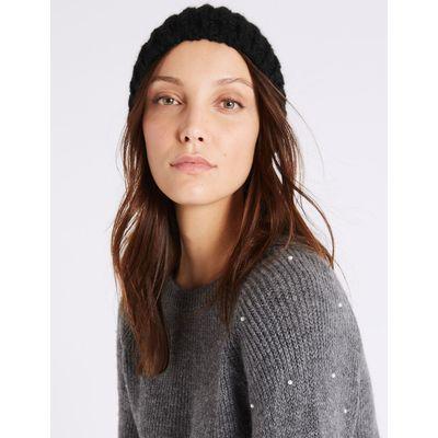 Textured Beanie Winter Hat black