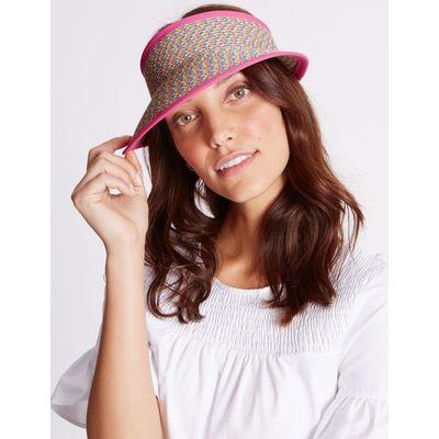 Marl Weave Visor Summer Hat pink mix