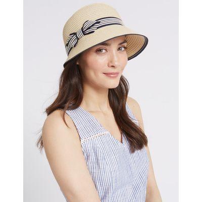 Bow Cloche Summer Hat natural mix