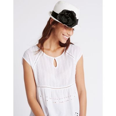 Corsage Trilby Hat white mix