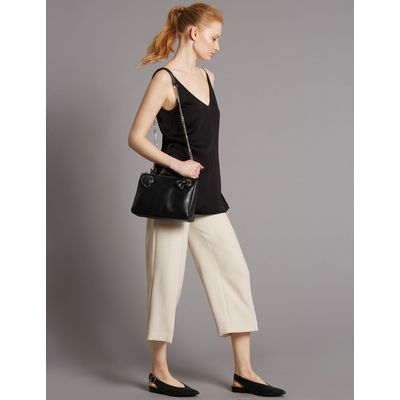 Leather Eyelet Across Body Bag black