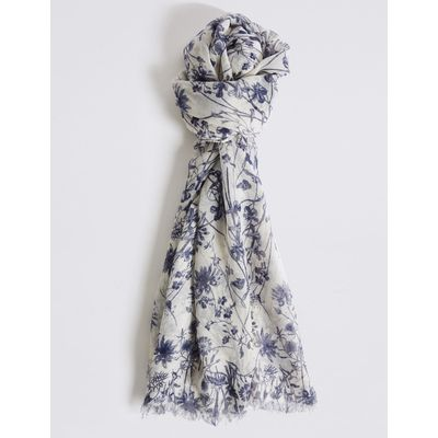 Floral Print Scarf cream mix