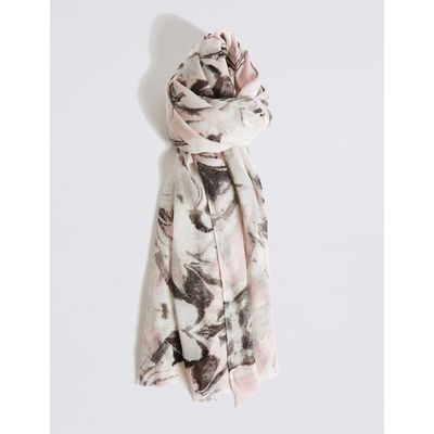 Marble Shimmer Print Scarf white mix
