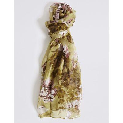 Pure Silk Floral Print Scarf khaki mix