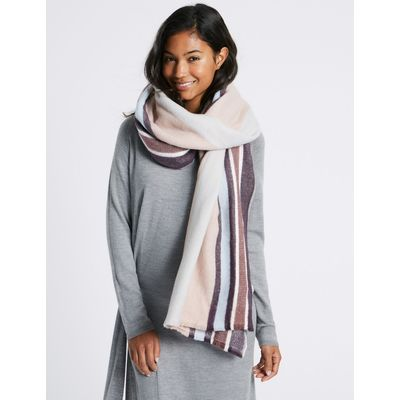 Soft Touch Striped Scarf pink mix