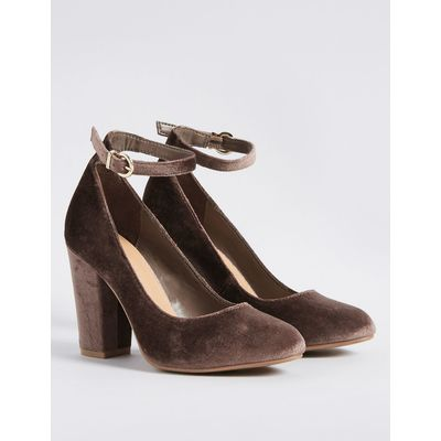 Block Heel Ankle Strap Court Shoes mink