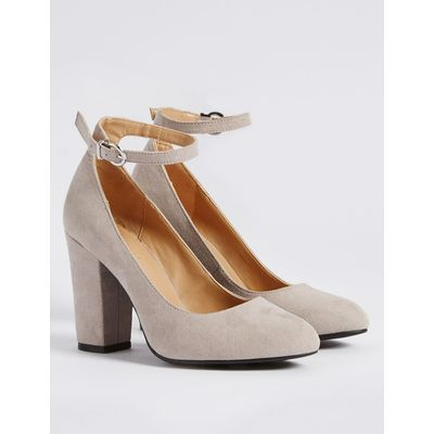 Block Heel Ankle Strap Court Shoes grey