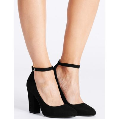 Block Heel Ankle Strap Court Shoes black