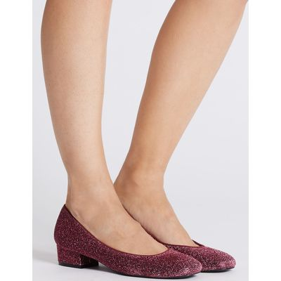 Block Heel Court Shoes berry