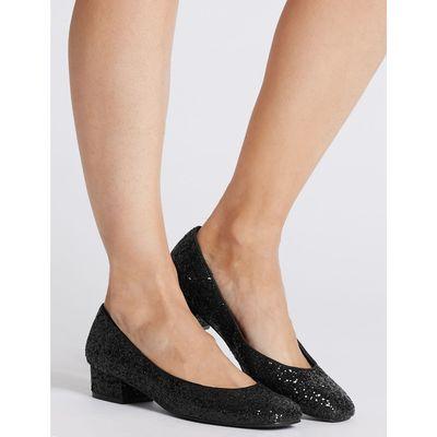 Block Heel Court Shoes black