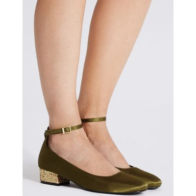 Block Heel Ankle Strap Court Shoes green