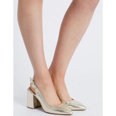 Block Heel Sling Back Court Shoe gold