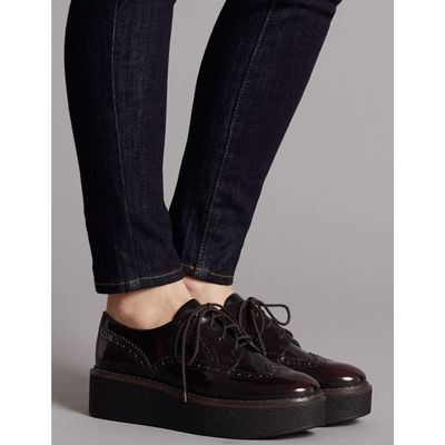 Leather Brogue Shoes oxblood