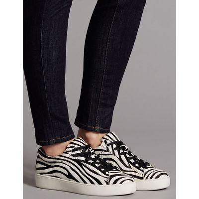Leather Lace-up Trainers black/white