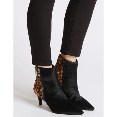 Leather Kitten Heel Double Zip Ankle Boots black mix