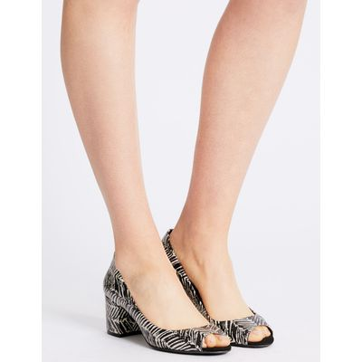 Block Heel Peep Toe Court Shoes black mix
