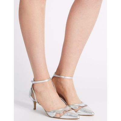 Kitten Ankle Strap Court Shoes silver