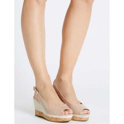 Wide Fit Wedge Heel Sling Back Espadrilles caramel