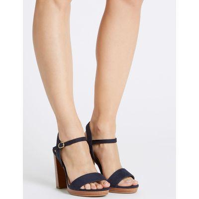 Wide Fit Block Heel Sandals navy